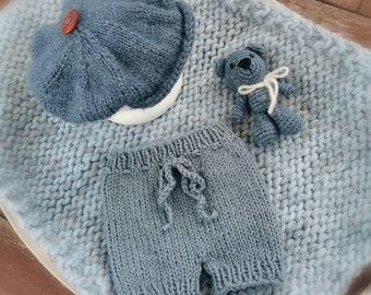 Jeans blue set for newborn photography 4 pieces
