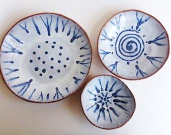 Ceramic Bowls, Blue and White, Nesting Set of Three Pottery Bowls