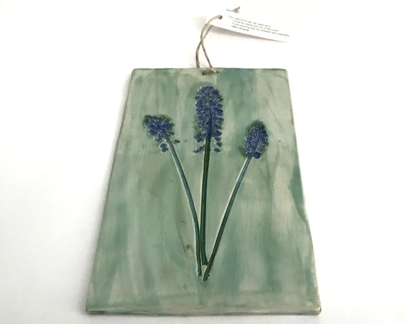 Hyacinth Ceramic Decorative Wall Art Tile, Trivet, Cutting, or Cheese  Board, Symbol of Sincerity and Dedication