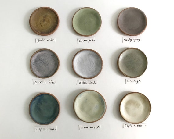 Handmade glazed stoneware pottery plates by RedBarnPottery on Etsy.