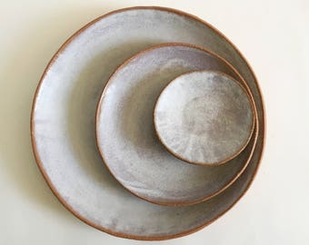 Ceramic Plate Set of 3 in White Wash Matte Glazed  Stoneware Pottery Dishes In Stock and Ready to Ship