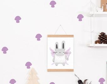 Wall decals / wall stickers 16 purple mushrooms
