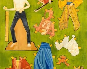 Mother Gift, Wife Gift, Craft Room Wall Art,  Nostalgic Wall Art, Whimsical, Paper Dolls, Children's Room, Art for Boys
