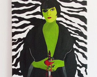 art deco style Painting Original Art flapper girl/low brow Painting Acrylic Painting on Canvas