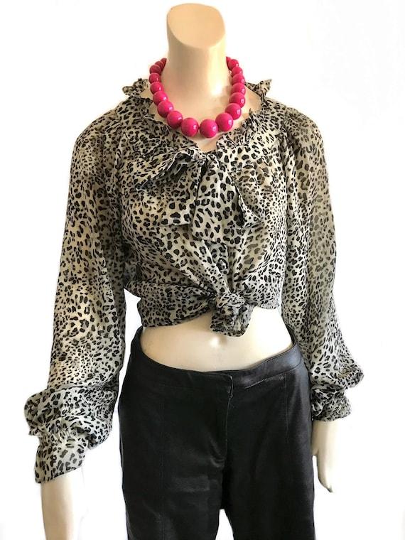 1990s leopard black white ruffle blouse / animal p