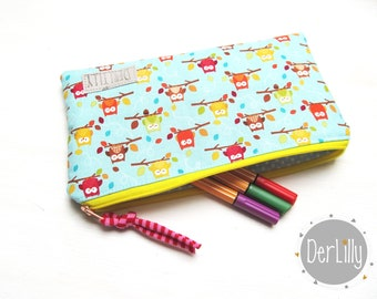 Pen bag feather bag bites mini-towel zip pocket study school owls points size XL
