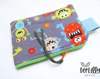 Wallet -Minitäschlein Monstaa Monster ! Children's wallet School bag Emergency bag Paving bag