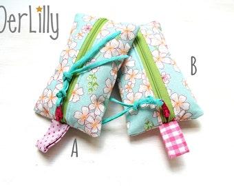 TaTüTa Handkerchief Bag Täschlein Minitäschlein Medication Bag Jasmine Blossoms or Retro Pattern Choice