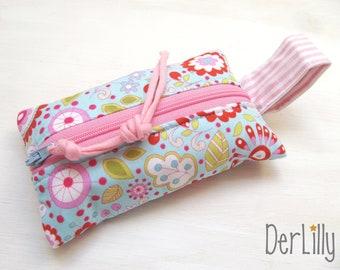 TaTüTa handkerchief bag Täschlein Minitäschlein Medication-täschlein Flowers fantasy turquoise pink