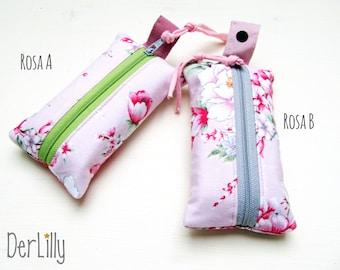 TaTüTa handkerchief bag Täschlein Minitäschlein Medicine Seam Roses Peony Pink or Grey Color Choice