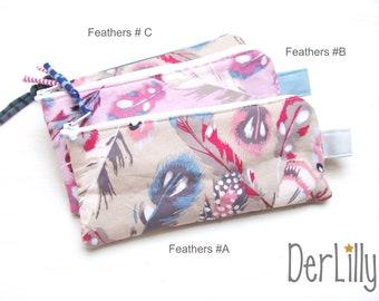 Pen bag feather bag pencil case pencil case mini täschlein zipper bag Feathers feathers on beige or pink