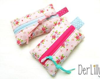 TaTüTa handkerchief bag Täschlein Minitäschlein medication stubble roses on pink