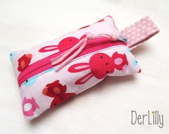TaTüTa handkerchief bag Täschlein Minitäschlein medication bunny pink