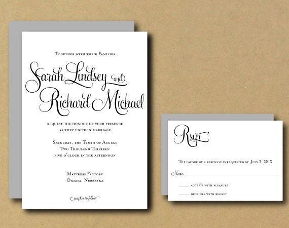 Customizable Wedding Invitation Templates: Wedding Invitation Template DIY Printable Wedding
