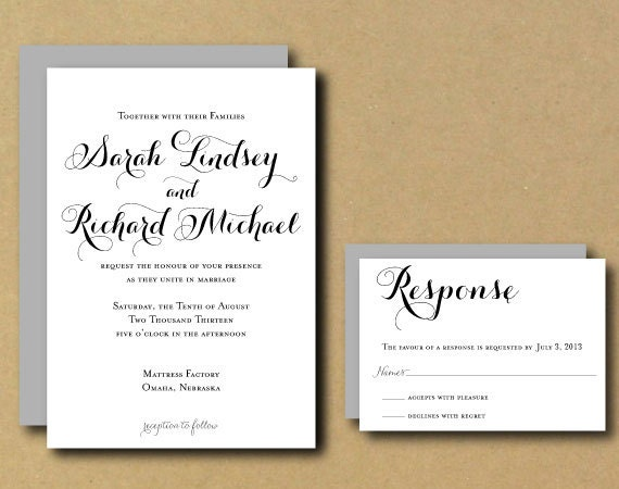 Custom Wedding Invitation Templates: Wedding Invitation Template Printable Custom DIY Wedding