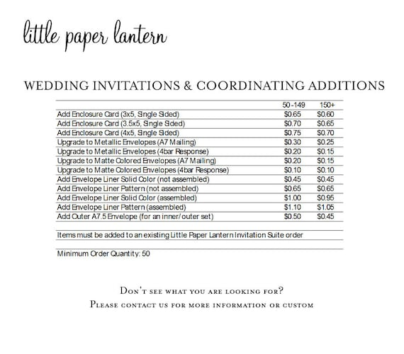 Little Paper Lantern Printing Price List For Wedding Etsy