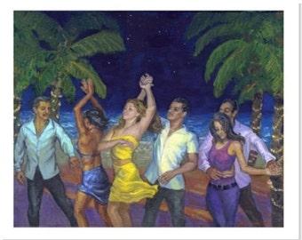 Noche de Salsa PRINT or CANVAS Salsa Art. Dancers under the Night Stars. Salsa Dancer Art, Poster Caribbean, Dancing