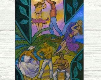 Salsa y Guaguango PRINT, POSTER or CANVAS, Salsa Art Salsa Dancing, Tree of Dance, Dance Inspired Art, by Alla Gerzon