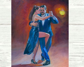 Tango Romantico POSTER or PRINT Tango Art Dance Art CANVAS Tango Dancing Couple, Argentine Tango Art, Romantic Couples, Dancing