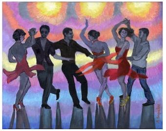 Salsa Silhouettes PRINT or CANVAS Salsa art. Salsa dancing Art, Bright Lights, Colorful Salsa Club