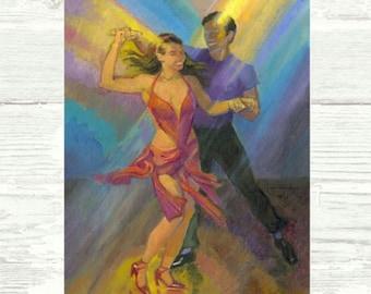 Colors of Light PRINT or CANVAS Salsa Art, Salsa Dancers, Salsa Dancing Art, Gift for Dance Performer or Teacher