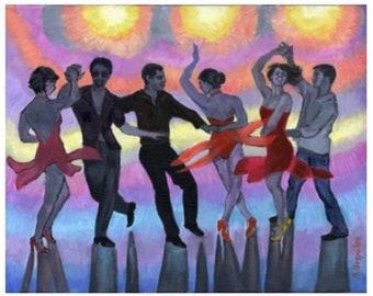 Salsa Sillhuettes PRINT or CANVAS Salsa Art