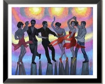 Salsa Silhouettes PRINT or CANVAS Salsa Art. Salsa club art