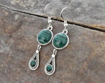 4c3ae7dad Sterling silver Malachite earrings, Filigree earrings, Drop earrings, Israeli  jewelry, Ethnic earrings,Green earrings