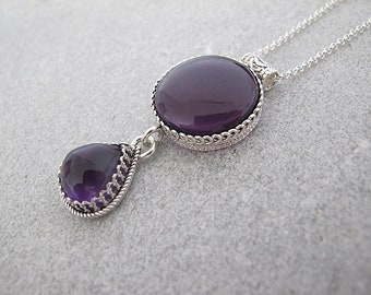 Amethyst necklace, silver necklace, Amethyst pendant, Silver pendant, Statement necklace, Purple necklace, february birthstone necklace