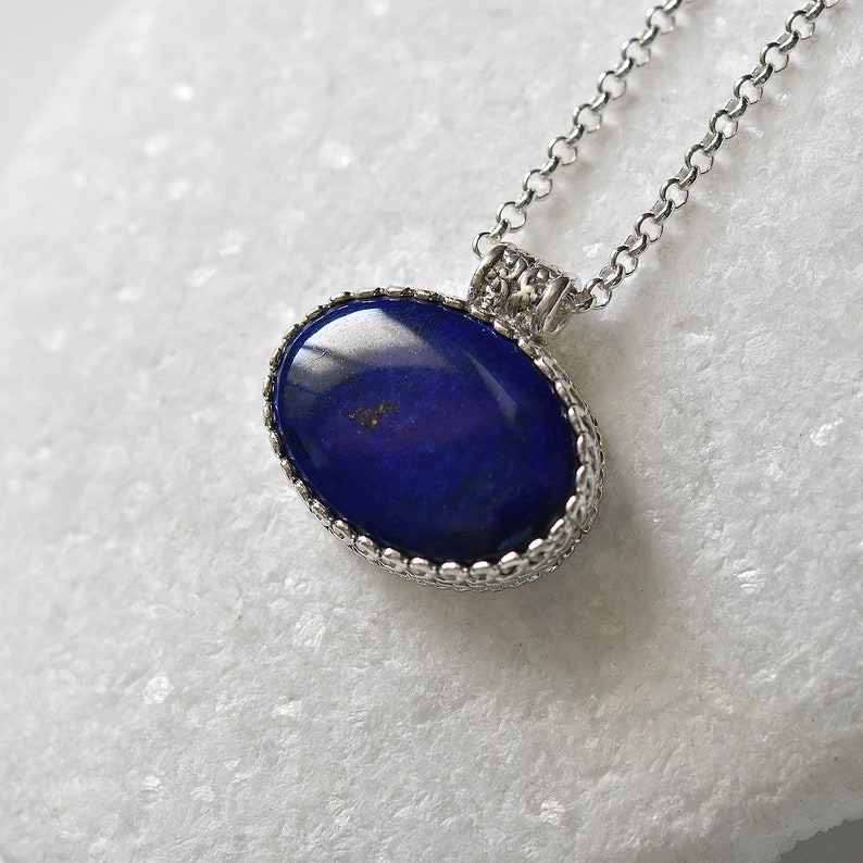 lapis jewelry Cobalt blue oval necklace,Silver necklace unisex necklace Blue Lapis pendant