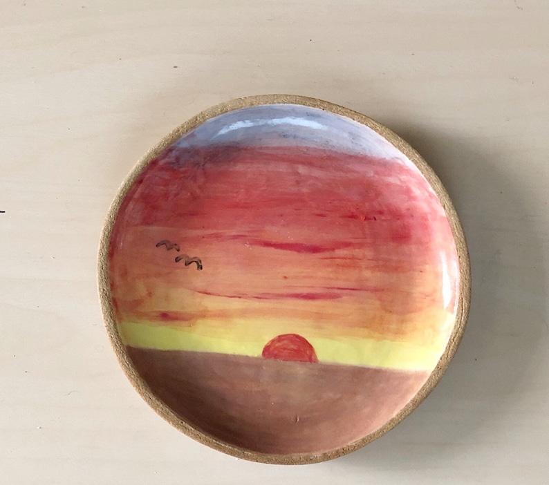 Sunset Plate  Painted Ceramic image 1