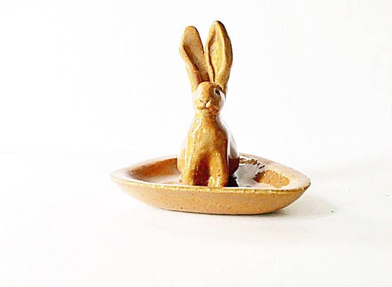Rabbit Ring Holder Dish  Brown  Ceramic image 0
