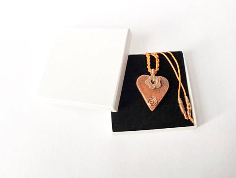 Heart Necklace  red boho ceramic copper image 0