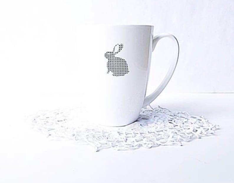 White Rabbit Mug  Porcelain image 0