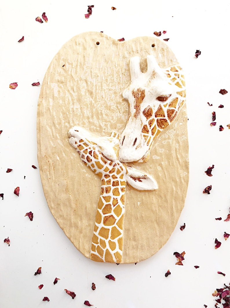 Beige Ceramic Giraffe  Mother and Baby Wallhanging image 0