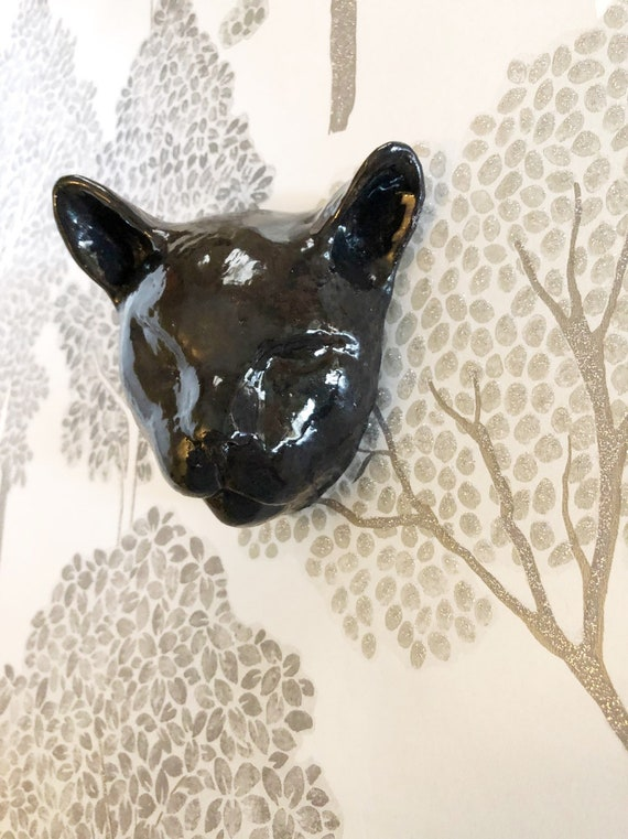 Black Sleepy Expression Cat Head Wallhanger