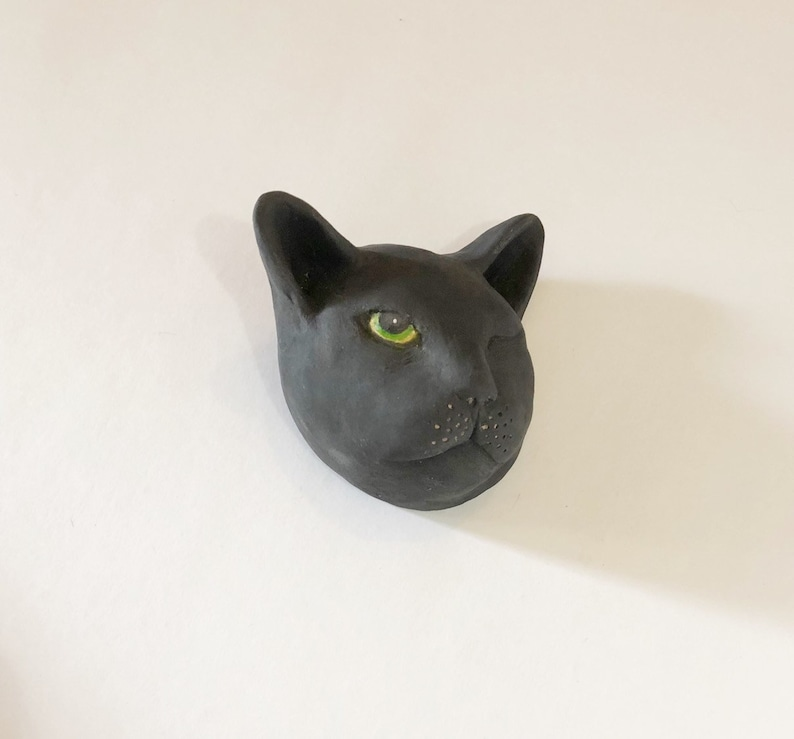 Black Cat Face  Sleepy Ceramic Expression image 0
