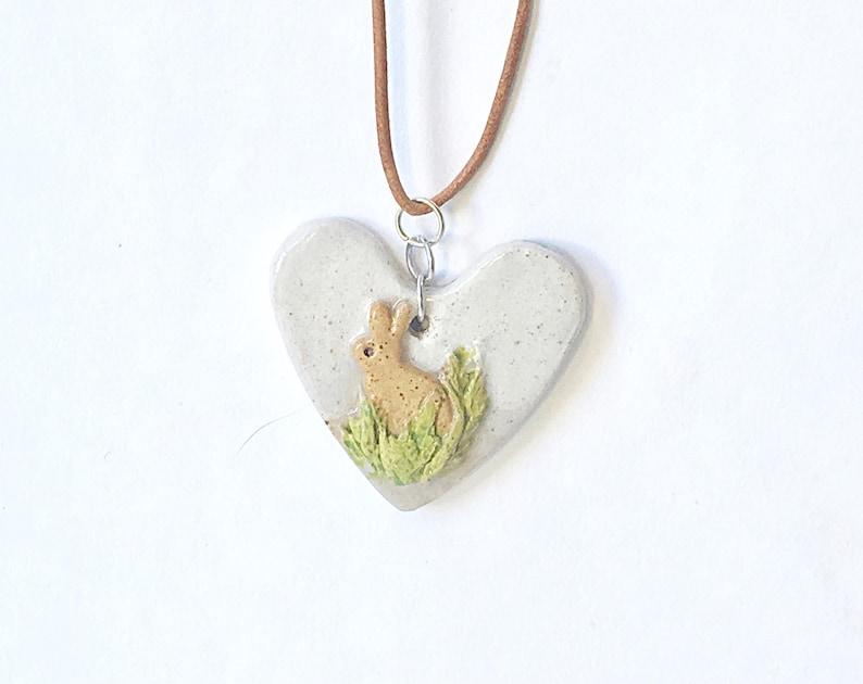 White Ceramic Rabbit Heart Pendant Natural diffuser Car image 0