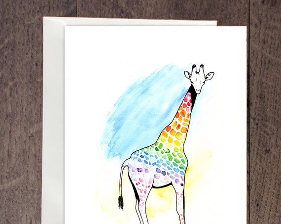 Rainbow giraffe greeting card