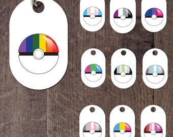 LGBT Rainbow pride and pokeball dog tag