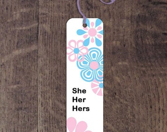 Transgender pronouns aluminum bookmark