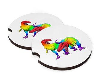 Car coasters (set of 2) - Rainbow raptors