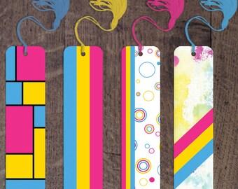 Pansexual Pride flag aluminum bookmarks