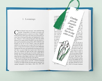 Reading gives us someplace to go aluminum bookmark