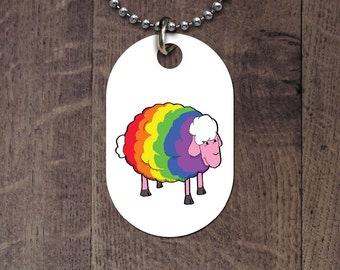 LGBT Rainbow sheep dog tag