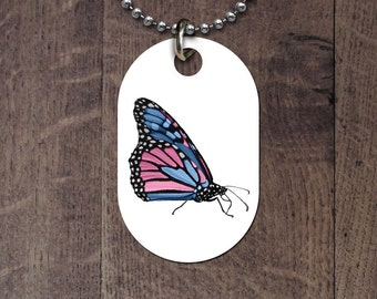 Transgender Butterfly Dog Tag