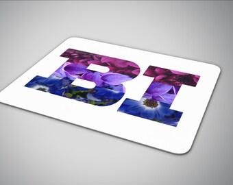 Bisexual pride flag in flowers mouse pad