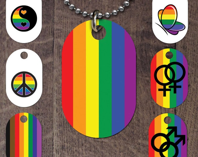 LGBT flag dog tags