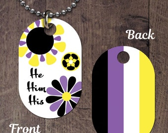 Non-Binary Pronouns (double sided) Dog Tag