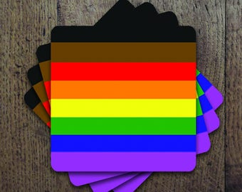 New LGBT rainbow flag colors Coaster Set
